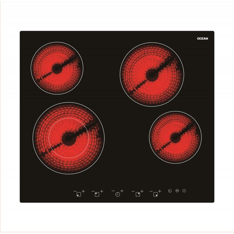 Table de cuisson vitro ocean lch604tc 4f noir tactile Table de cuisson vitro
