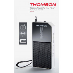 RADIO PORTABLE THOMSON RT205 AM/FM BLANC/NOIR