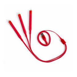 CABLE USB LIVOO TEA230R 3EN1 CHARGE ROUGE