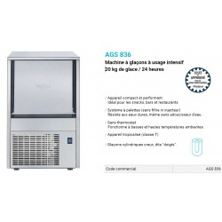 FABRIQUE A GLACONS WHIRLPOOL AGS836 20KG/24H INOX